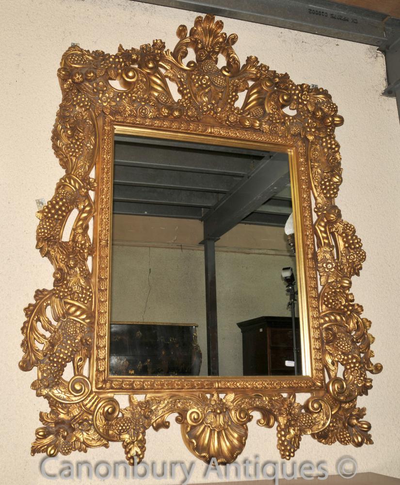 Große Louis XVI Pier Spiegel Goldrahmen Spiegel aus Glas