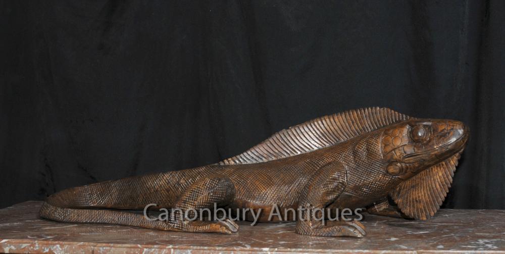 Hand geschnitzte Komodowaran Statue Reptile Holz Tier