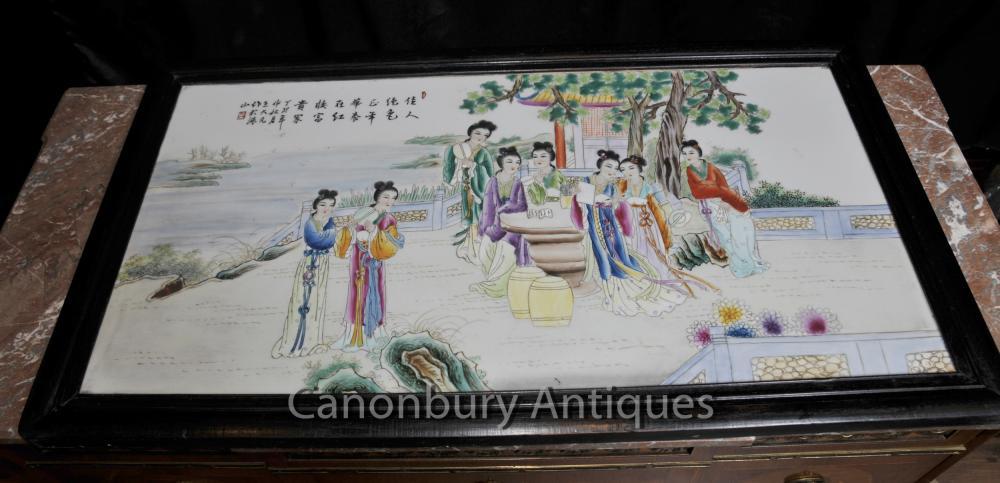 Japanische Porzellan Kutani Bildschirm Plaque Hand bemalte Keramik-Platte