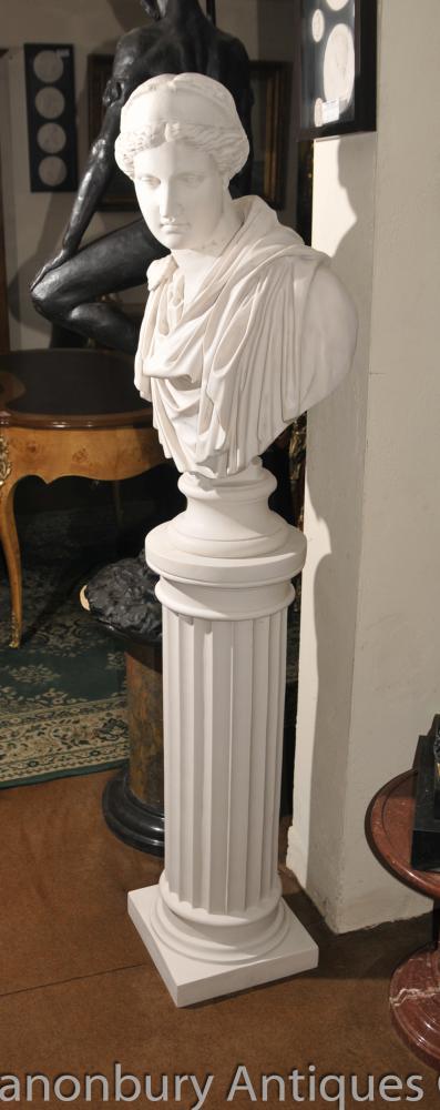 Klassische italienische Marmor dorischen Säule Pedestal Stand Tisch