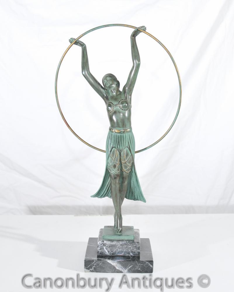 Original-Charles Sykes Art Deco-Band-Mädchen-Antike Statue signiert