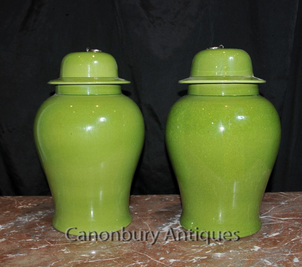 Paar Chinese Qing Porzellan Lidded Urnen Vasen Ginger Tempel Gläser