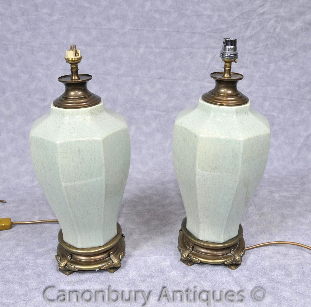 Paar Französisch Porzellan Urn Tischleuchten Leuchten Octagonal Keramik