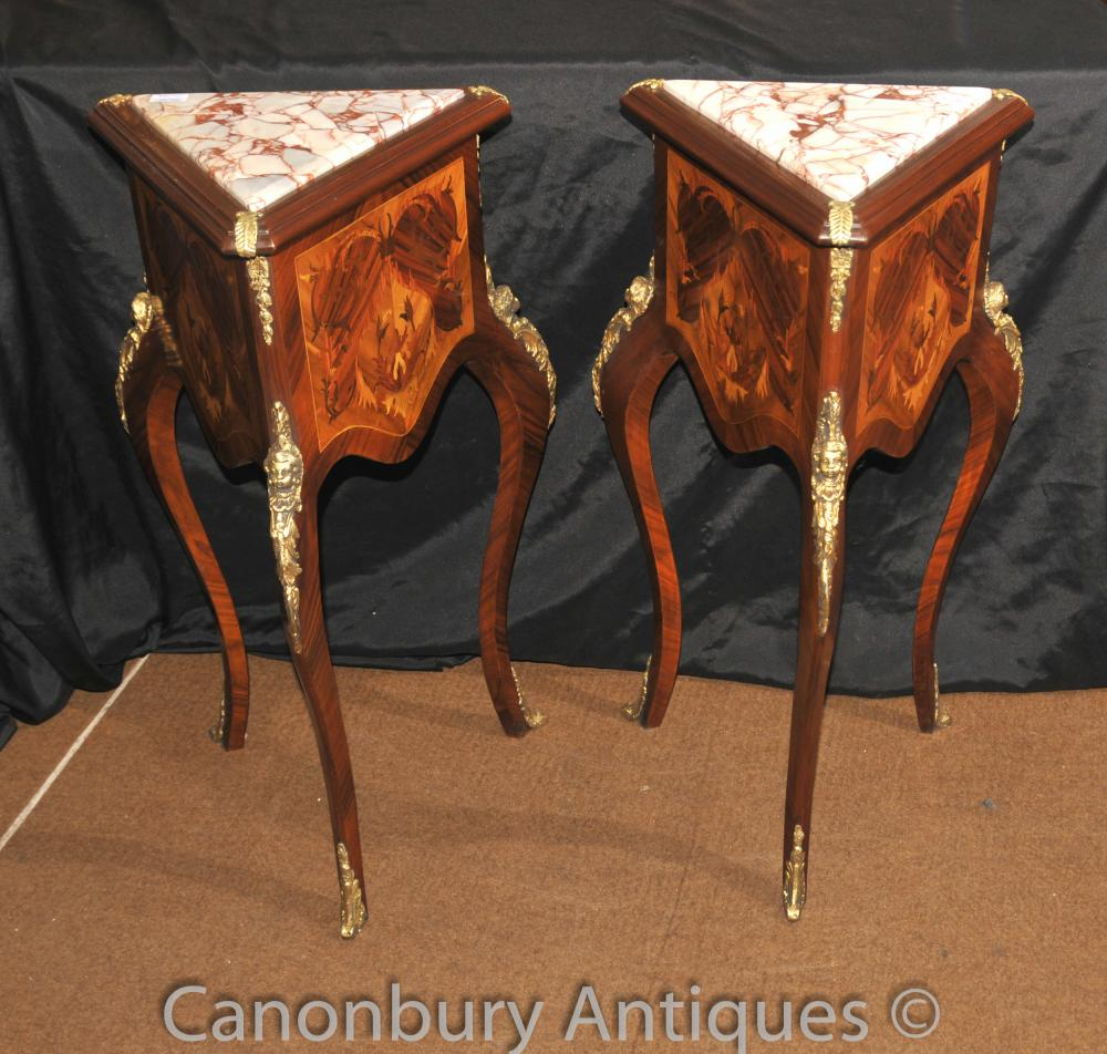 Paar Französisch Reich Dreieck Beistelltische Cocktail Inlay Tisch
