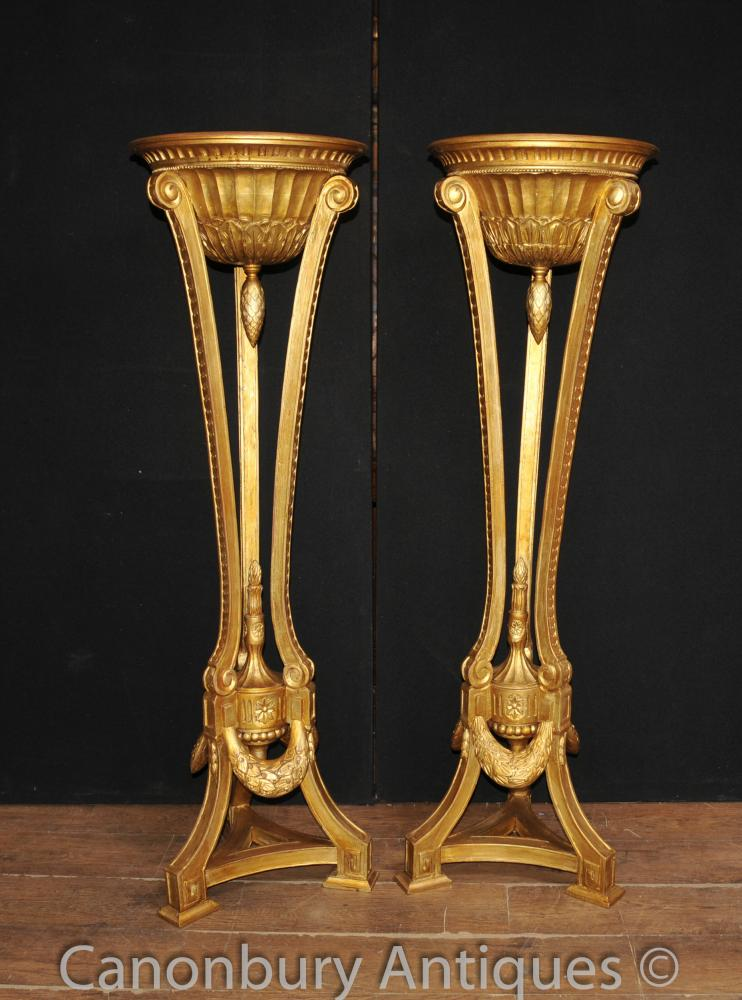 Paar Französisch Reich Gilts Torcheres Pflanzensäule Ständer Geschnitzte