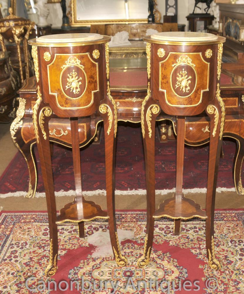 Paar Französisch Reich Pedestal Stände Side Cocktail Stände