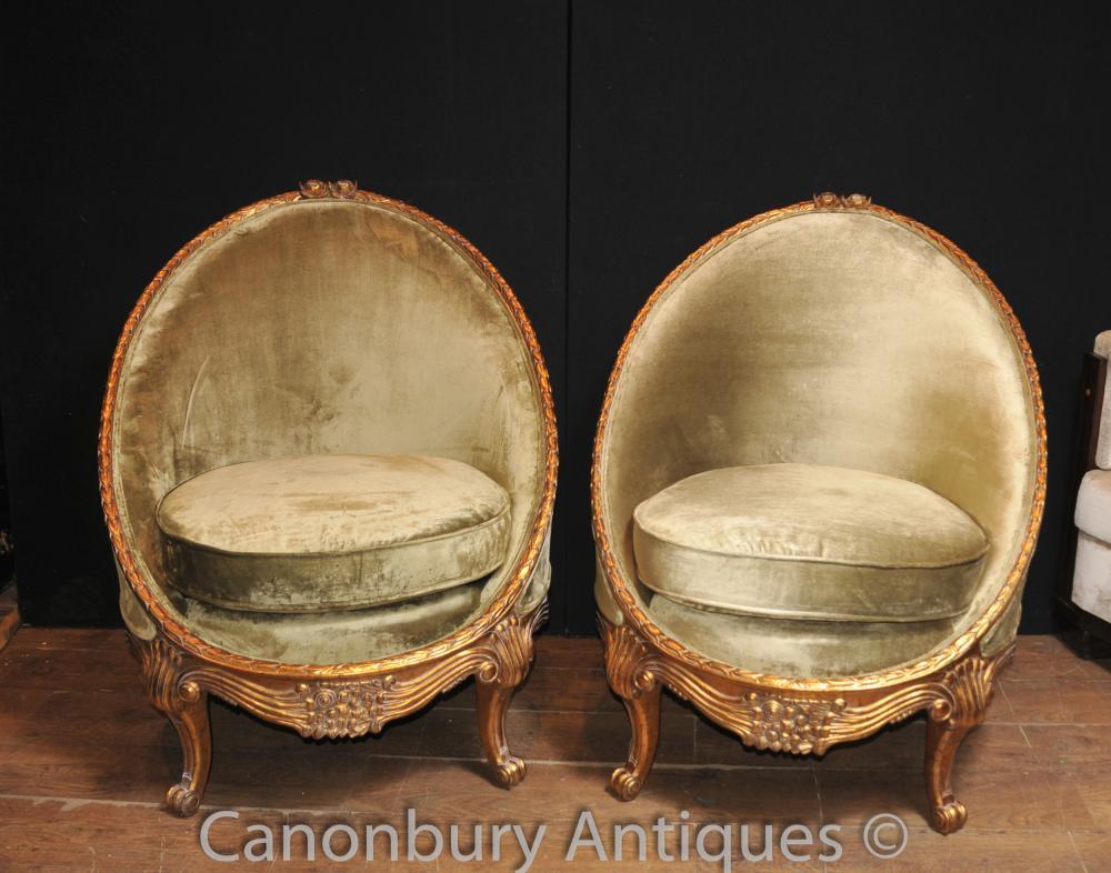 Paar Französisch Reich Tub Sessel Gilts Sofa Sitz Sessel