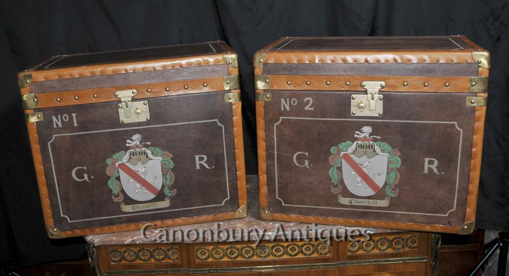 Paar Leder-Dampfer-Stamm Gepäckboxen Kaffee Beistelltische