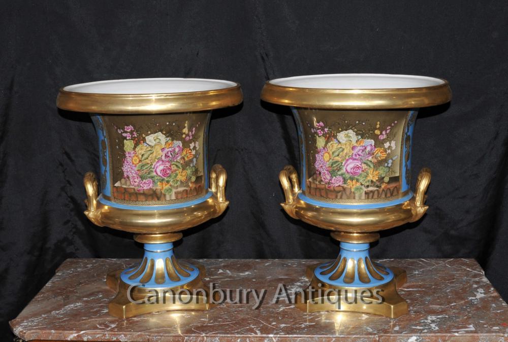 Paar Sevres Porzellan Campana Urnen Pflanzer Französisch Blumenvasen