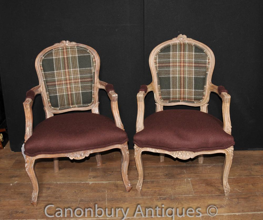 Paar Victorian Tartan Sessel Stuhl Fauteuil