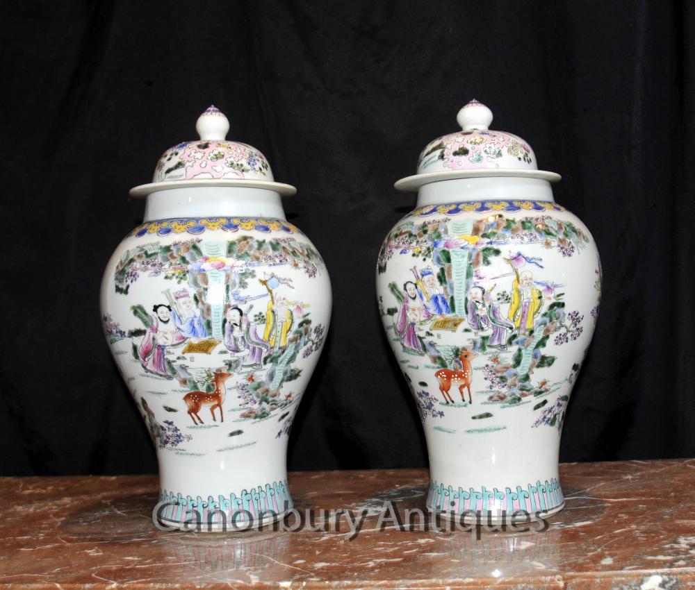 Paar chinesischen Celadon Porzellan Ingwer-Gläser Lidded Urnen Vasen