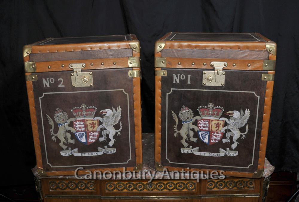 Parell de pell del tronc del vapor Taules secundaris maletes Caixa de casos