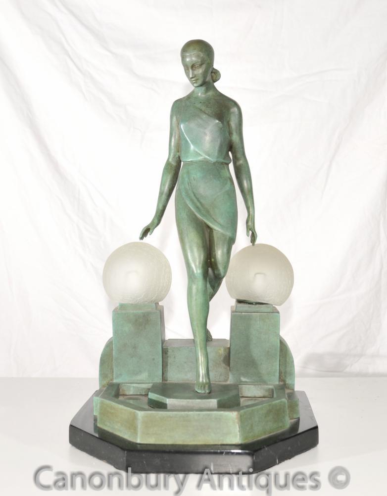 Ursprüngliche Art Deco Bronze Figurine Lampe Signed Fayral Antike Statue