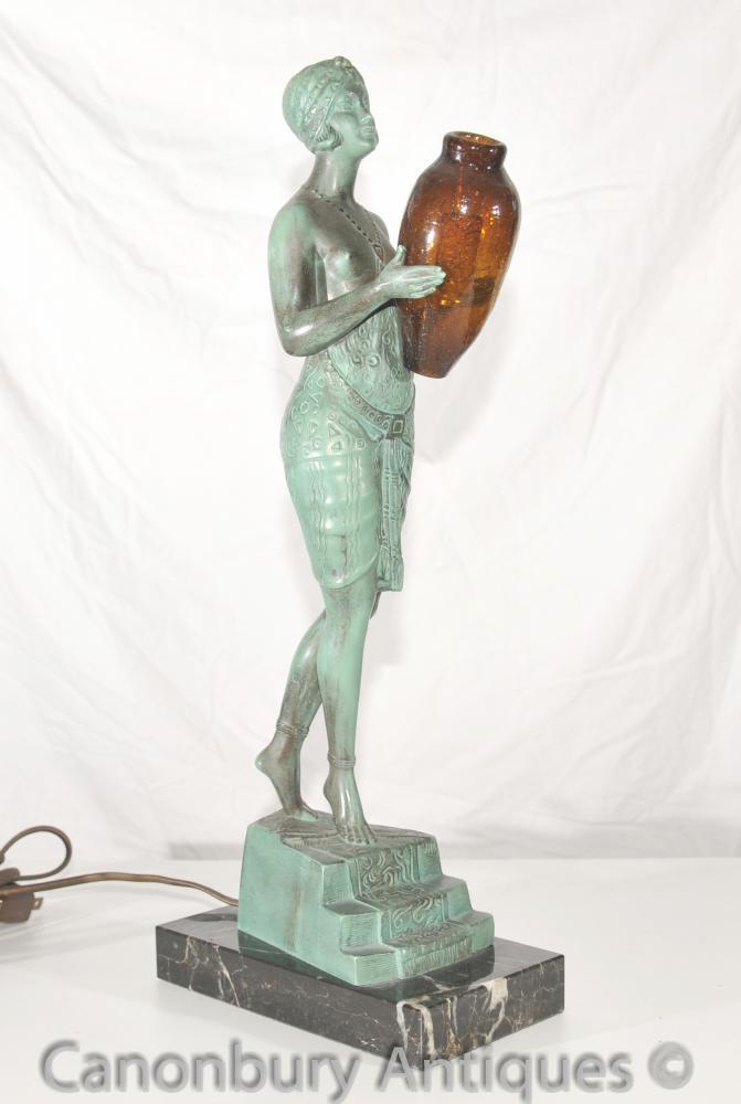 Ursprüngliche Art Deco Bronze Lamp Signed Faguays Französisch Le Verrier Antique