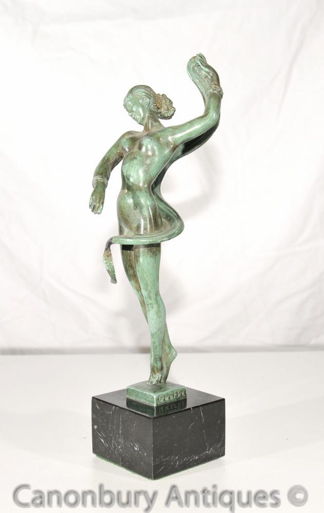 Ursprüngliche Art Deco Bronze Tänzerin signiert Guerbe Le Verrier Foundry