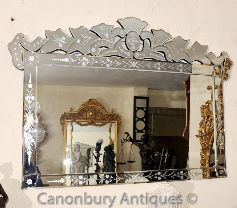 Venezianischem Glas Mantle Spiegel Cut Venedig Spiegel