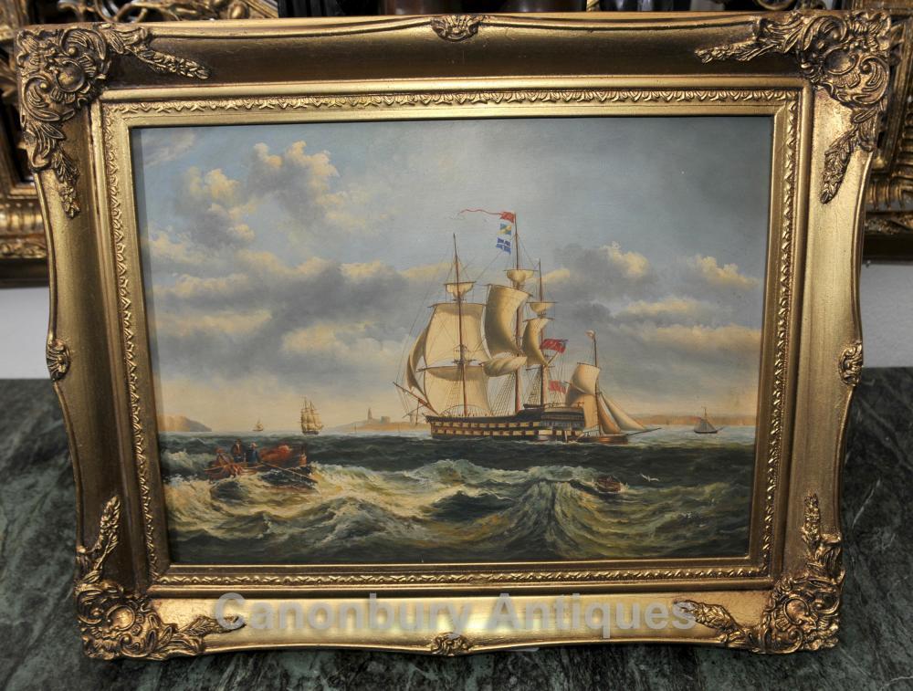 Victorian Ölgemälde Marine Galleon Maritime Kunst Portsmouth