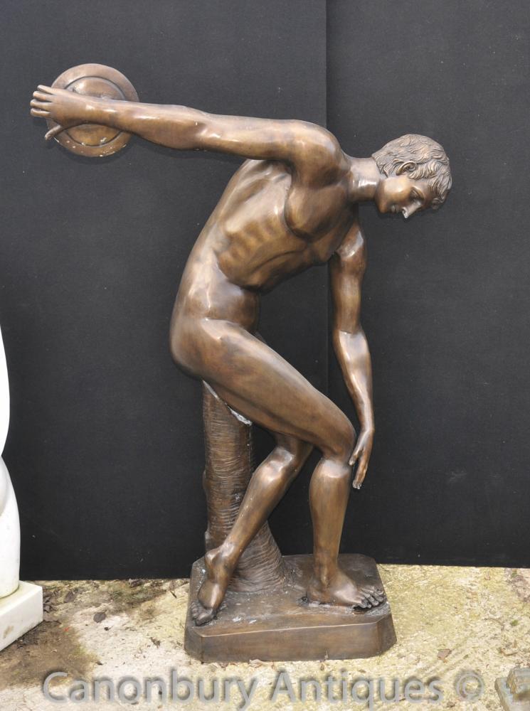 XL Bronze Klassische Diskuswerfer Statue Abbildung Nude Athlet Statue