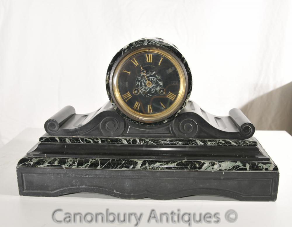 Antik Art Deco Französisch Mantel Uhr Barrel und Drum 1920er Jahre