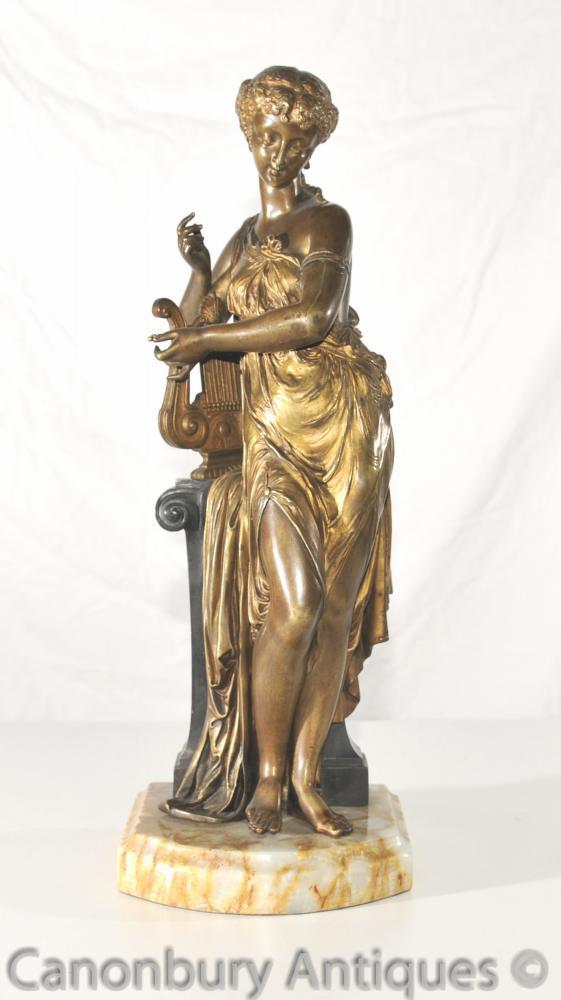 Antike Kunst Nouveau Bronze Lyre Maiden Statue 1890s