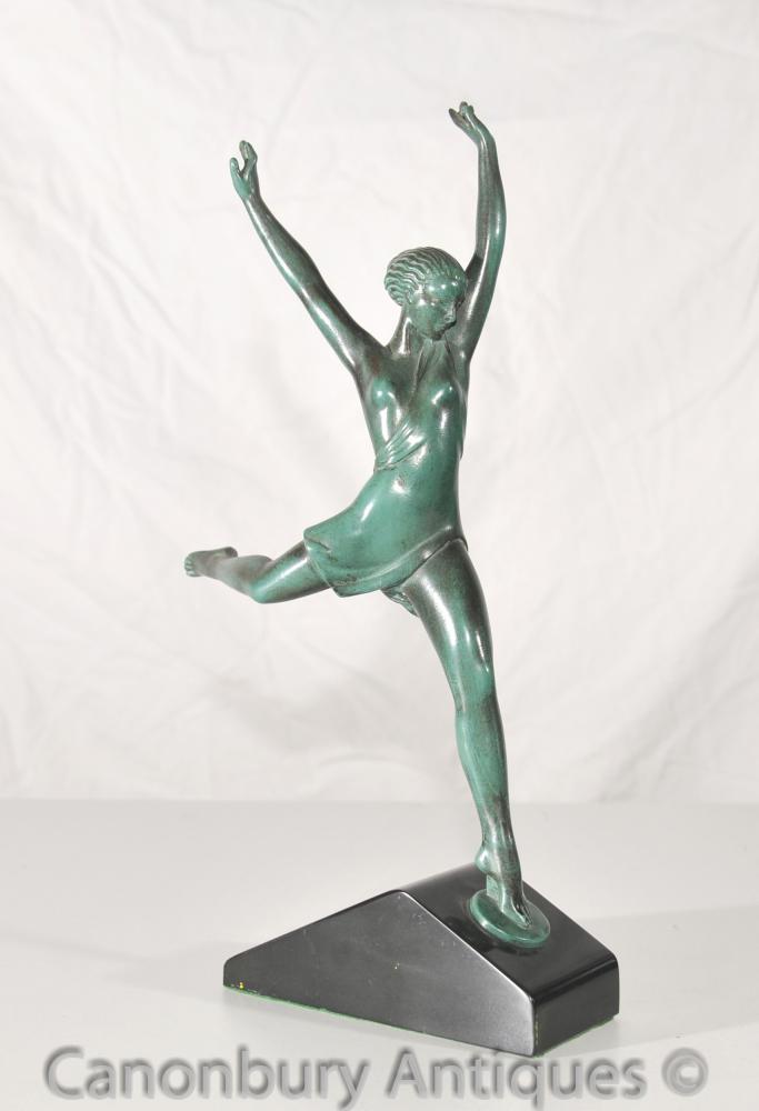 Antike Max Le Verrier Art Deco Bronze Tänzerin Statue Figurine