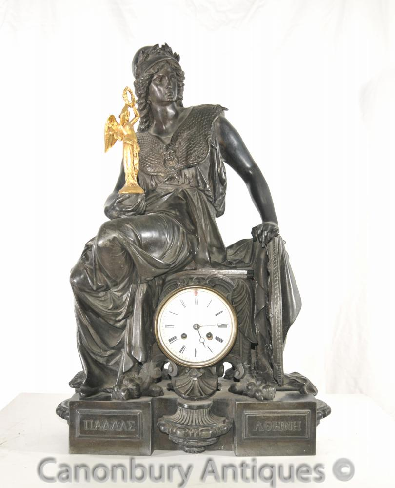Antique Französisch Reich Spelter Garniture Clock Set