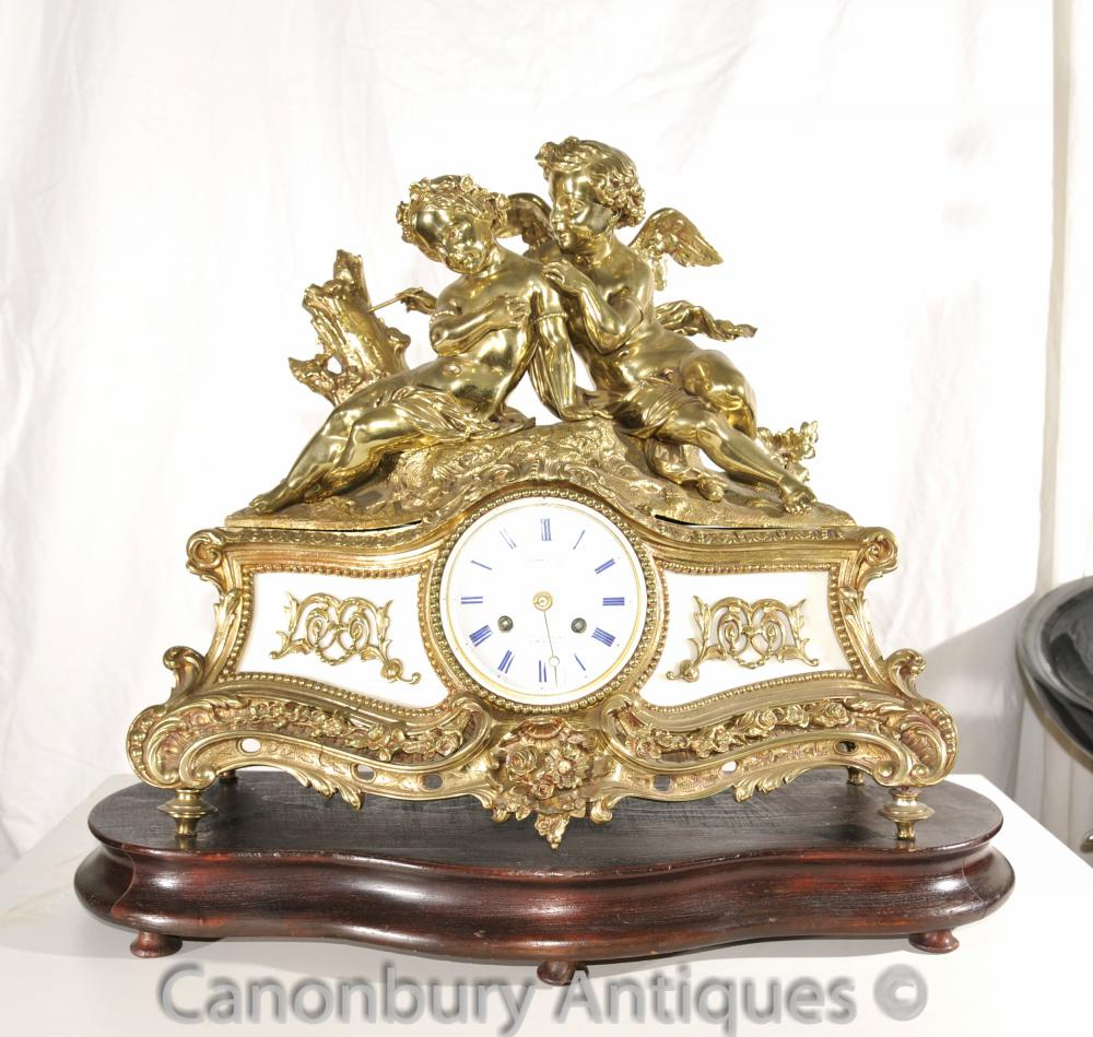 Antique Louis XV Ormolu Cherub Mantel Uhr Zeit