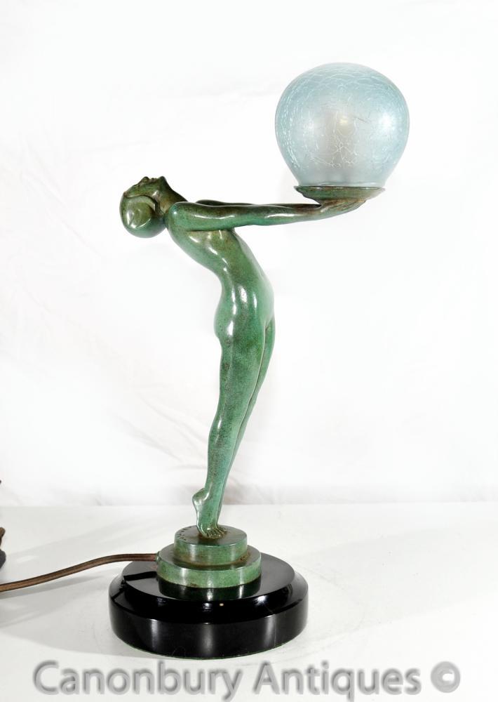 Art Deco Bronze Clarte Biba Mädchen Figurine Tischlampe Licht