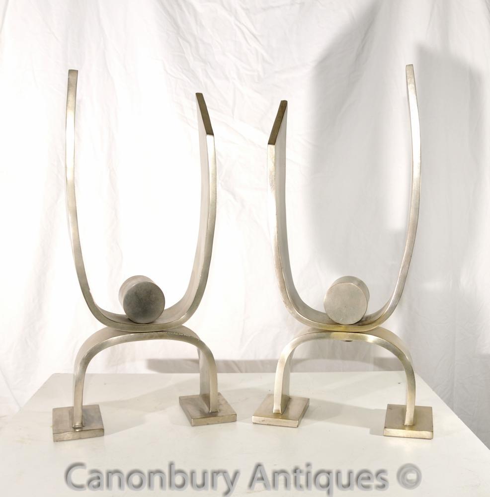 Art Deco Silber Bronze Andirons Chenet Dekorative Skulptur Deskey-Vollmer