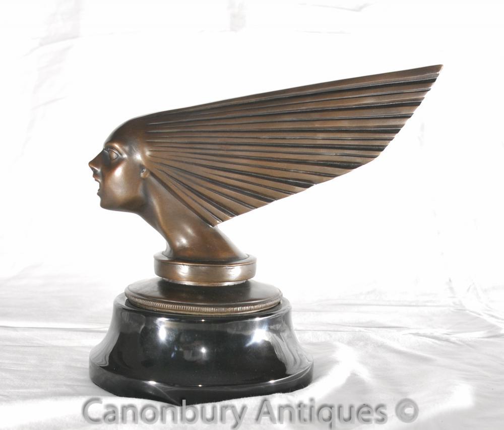 Bronze Art Deco Fliegen-Dame Büste Statue Auto-Maskottchen