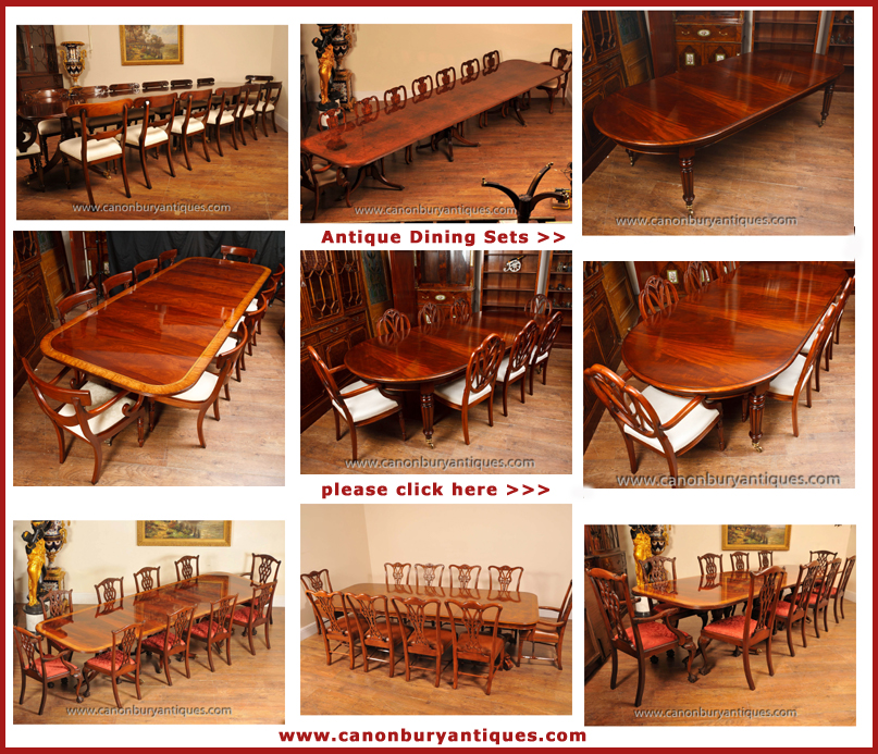 Englisch Antike Esstische und Stühle