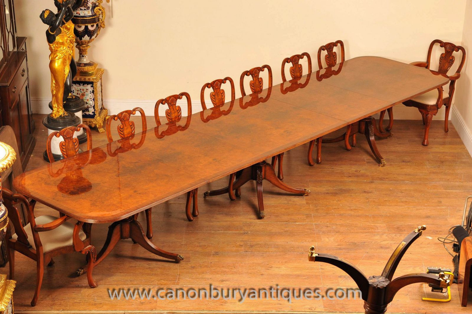 Large Regency Pedestal Table and Set of Chairs www_canonburyantiques_com (1)-2