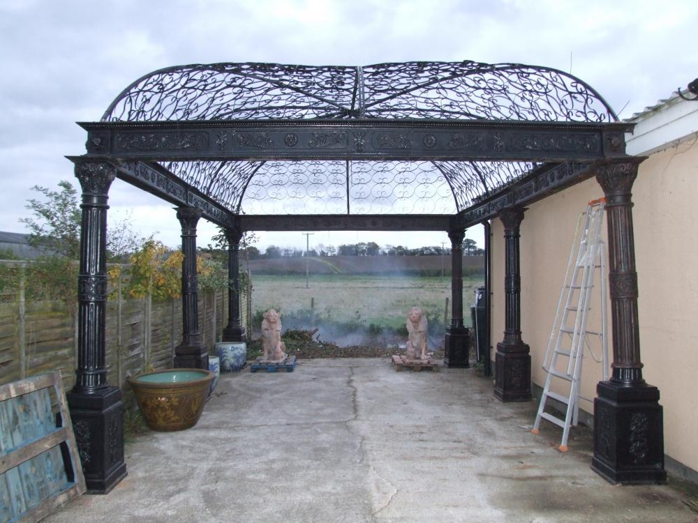 Massiver viktorianischen Gusseisen Gazebo Arbor Architectural Garten Gießen