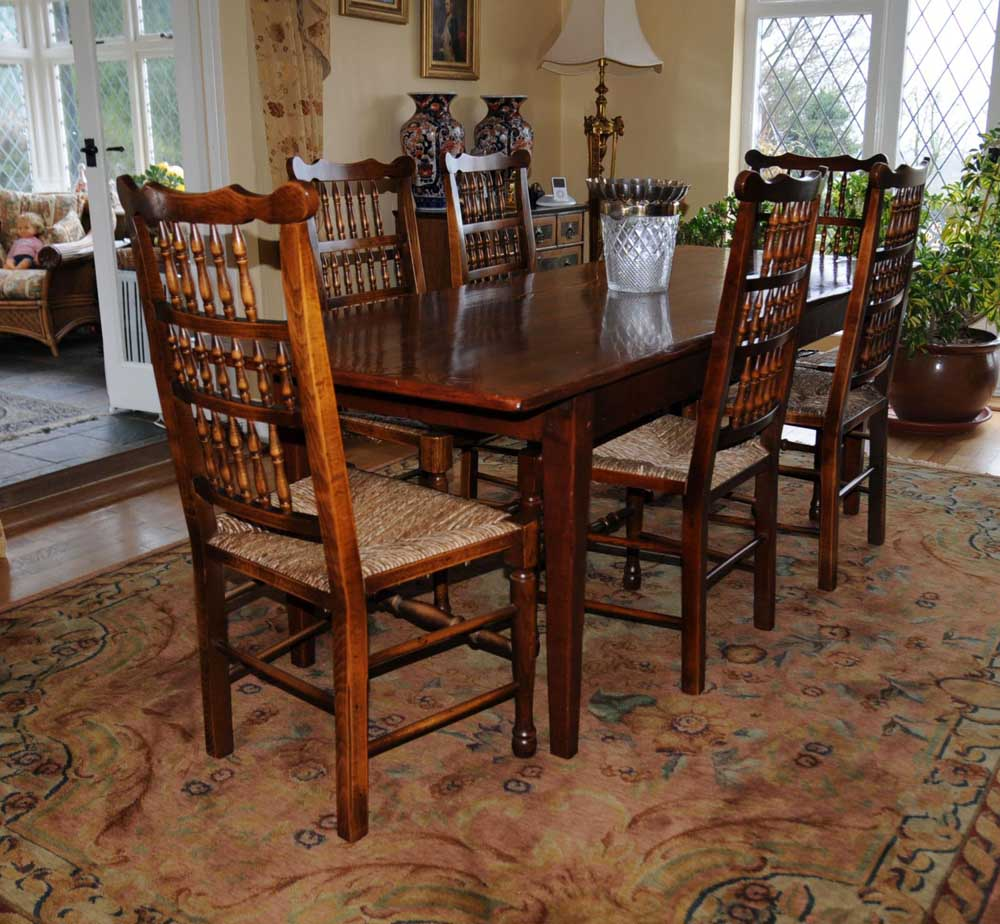 Oak Kitchen Dining Set Refectory Table Spindleback Chairs Set-1365795247-product-92