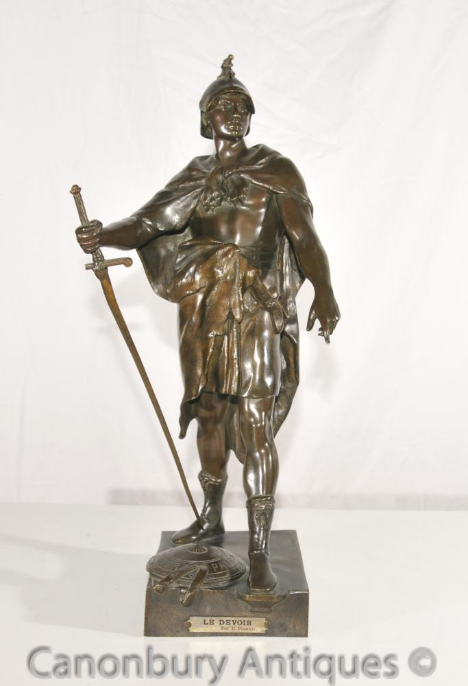 Original-Le Devoir Antike Bronze Römischer Soldat Statue von E Picault