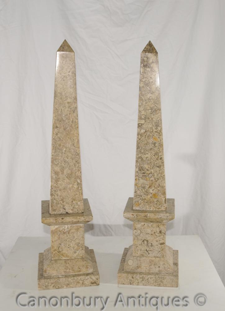 Paar Französisch Reich Marmor Obelisken Ägyptischen Obelisken