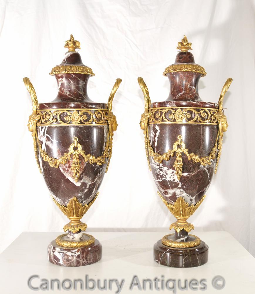 Paar Französisch Reich Marmor Ormolu Amphora Urnen Dekorative