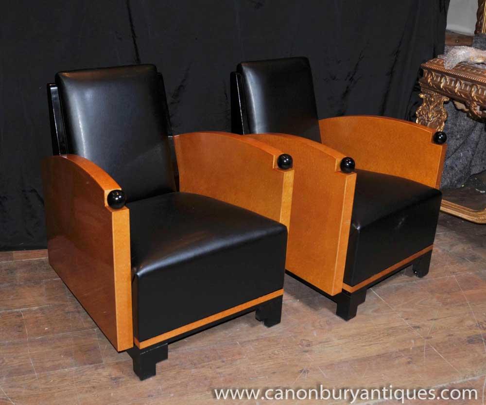 Pair Art Deco Club Chairs Arm Chairs Biedermeier Sofa