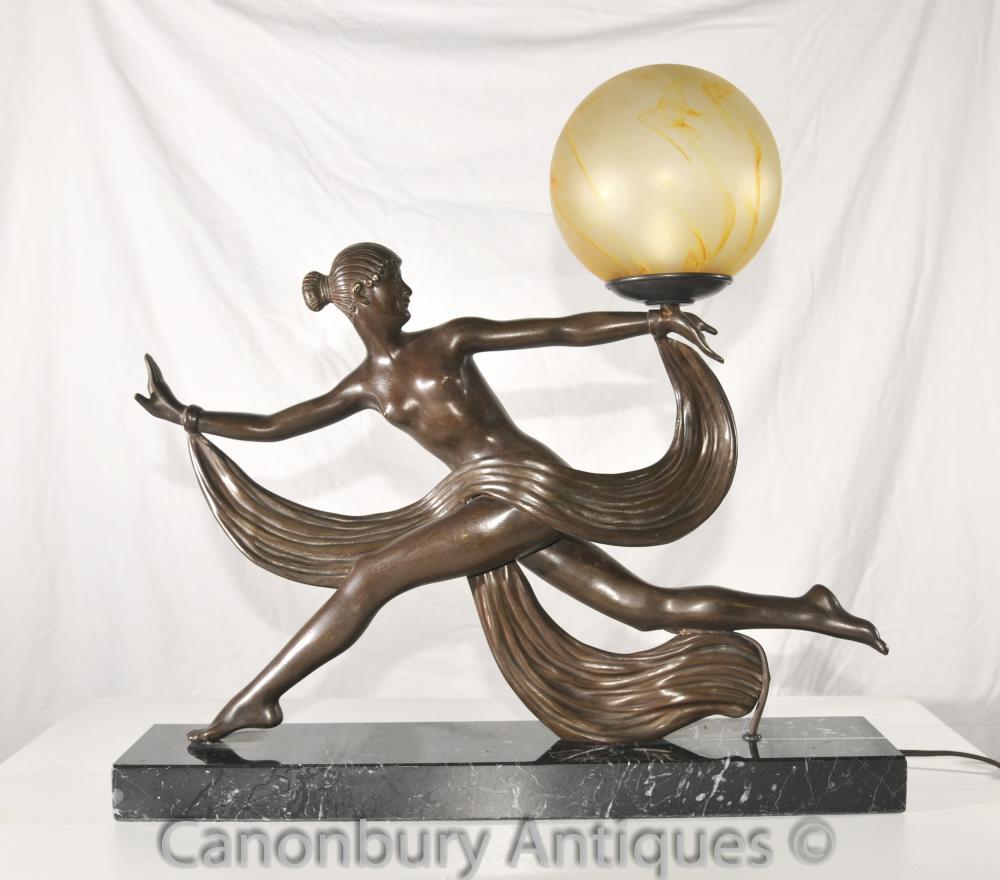 Ursprüngliche 1920er Antik Art Deco Tänzer Lampen-Licht-Bronze durch Kontur