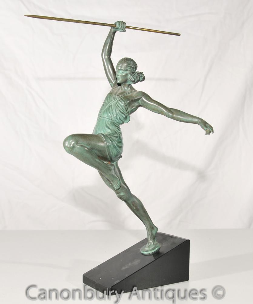 Ursprüngliche Art Deco Bronze bei Amazon Javelin Faguays von Le Verrier