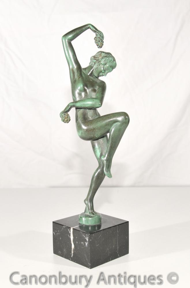 Ursprüngliche Ernte Art Deco Antike Bronze Statue Le Verrier Foundry