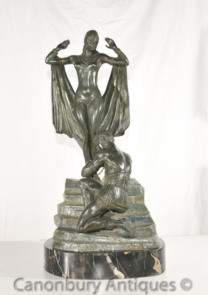 Versaute Antik Art Deco Bronze Figurine Slave Repatriierung von Ilda Erotic