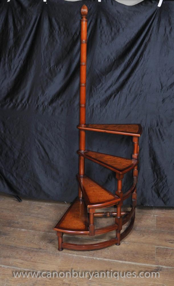 Victorian Bibliotheksleiter Stufenleitern Walnut Treppen