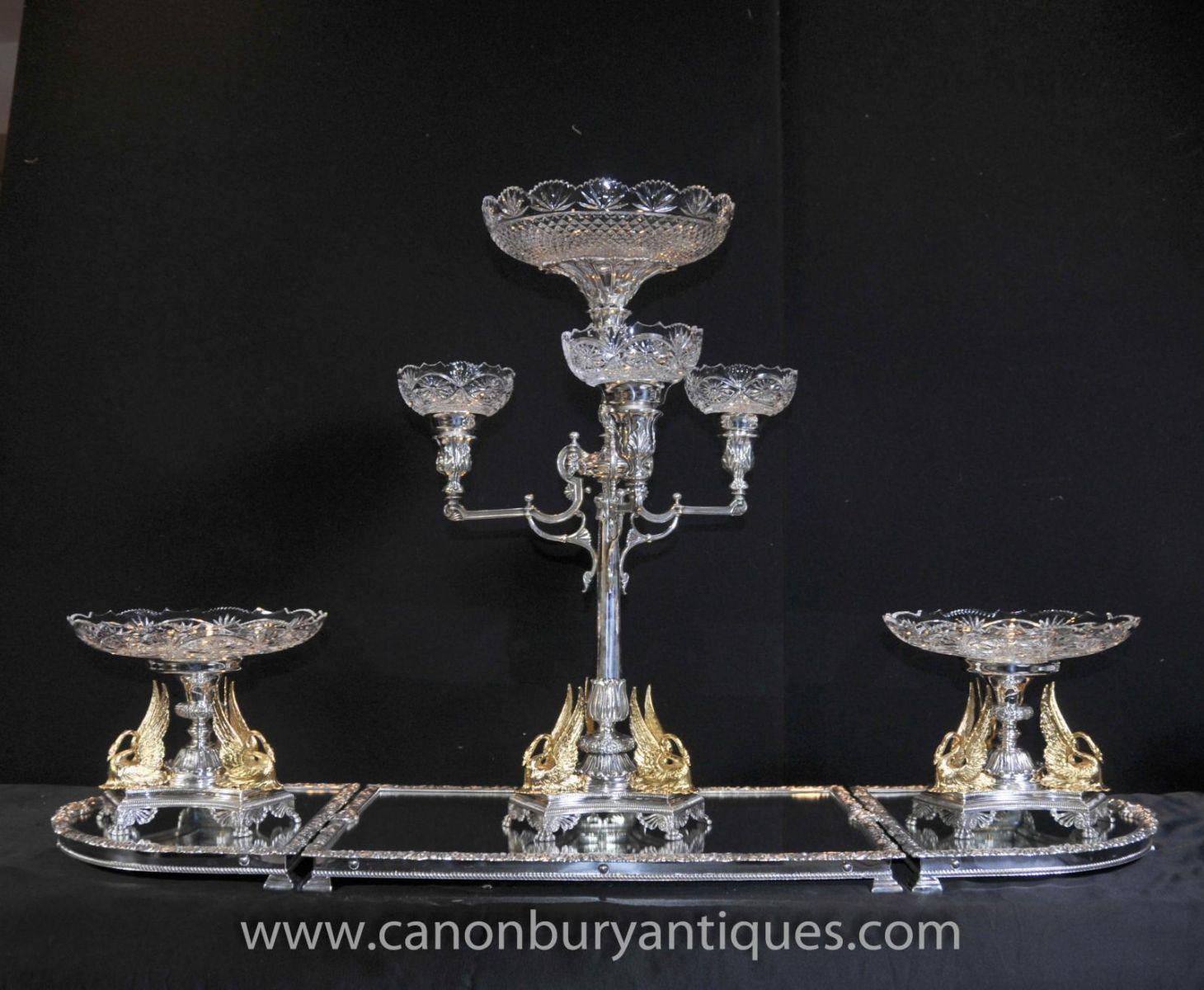 Victorian Silver Plate Epergen Centrepiece Gilt Swan Dish Bowl-1418773831-zoom-10