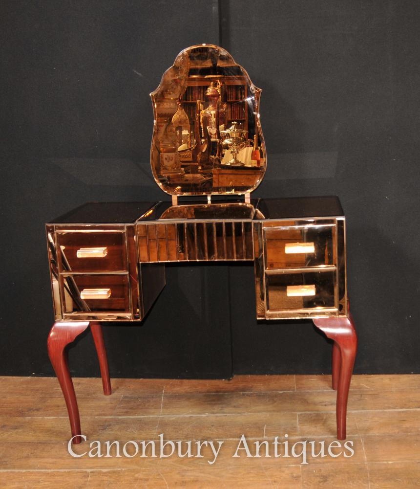 Antik Art Deco Gespiegelte Schminktisch Schreibtisch Tisch