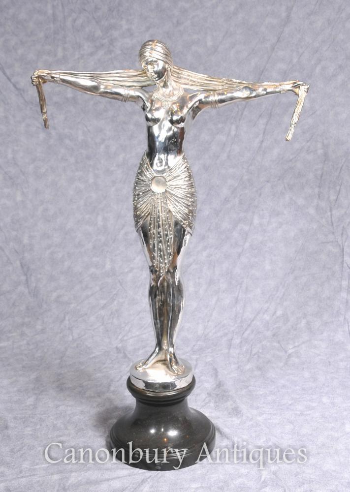 Art Deco Silber überzogene Bronze Chiparus Tänzer Statue Signed Casting