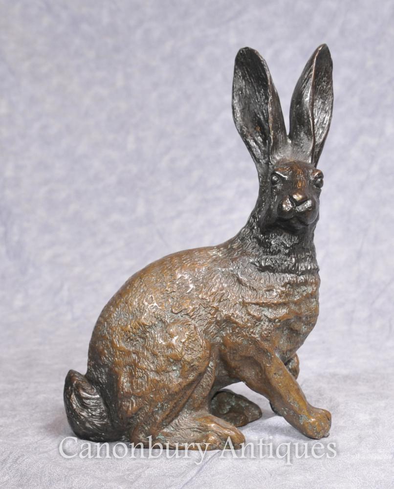 Englisch Bronze Casting Hare Statue Land-Kaninchen-Häschen