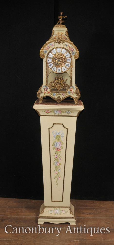 Französisch Antike Jugendstil Mantel Uhr Pedestal Painted Uhren