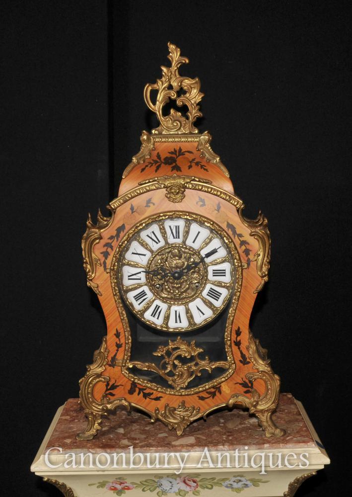 Französisch Antique Louis XVI Kaminuhr Intarsien