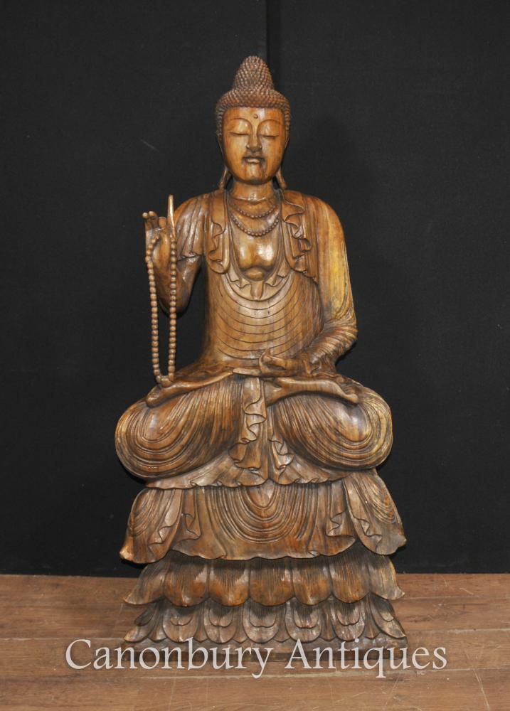 Große Hand geschnitzte tibetanische Buddha Statue Buddhismus Tibet buddhistische Skulptur
